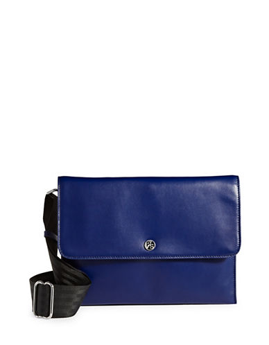 Paul Smith Leather Foldover Envelope Crossbody-BLUE-One Size