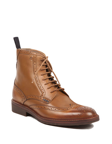 Sweeney London Full Brogue Leather Boots-TAN-UK 7/US 8