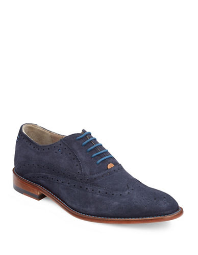 Sweeney London Fellbeck Suede Wingtip Brogue Shoes-BLUE-UK 6/US 7