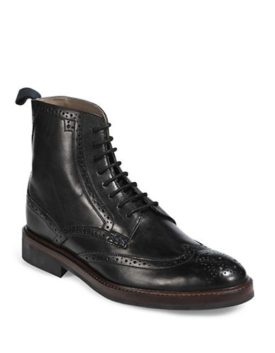 Sweeney London Airton Leather Wingtip Boots-BLACK-UK 9/US 10