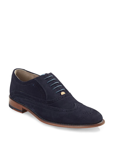 Sweeney London Fellback Suede Brogue Oxford Shoes-NAVY-UK 8/US 9