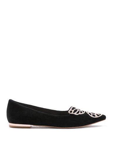 Sophia Webster Bibi Butterfly Kid Suede Flats-BLACK-EUR 40/US 10