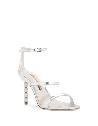 Sophia Webster Rosalind Leather Crystal-Embellished Ankle-Strap Sandals-SILVER-EUR 37.5/US 7.5