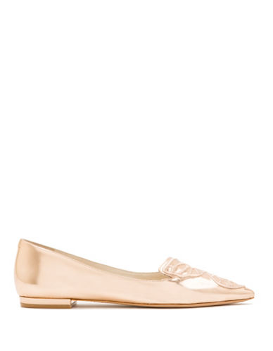 Sophia Webster Bibi Embroidered Butterfly Metallic Flats-ROSE GOLD-EUR 37/US 7