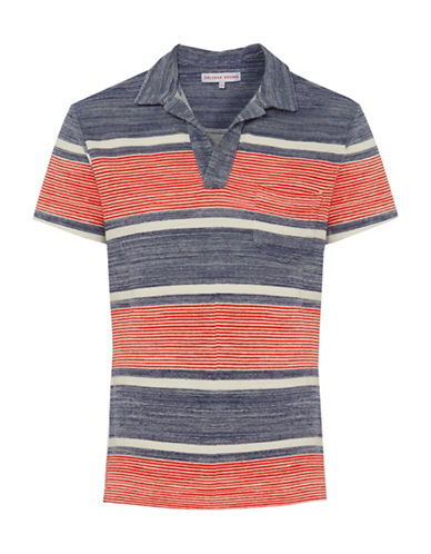 Orlebar Brown Striped Terry Polo Shirt-PACIFIC-Small