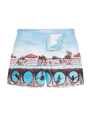 Orlebar Brown Photo-Print Mid-Rise Swim Shorts-POOL-32