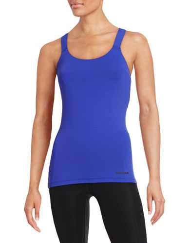 Ivy Park Solid V-Back Mesh Tank Top-BLUE-X-Small 88384651_BLUE_X-Small