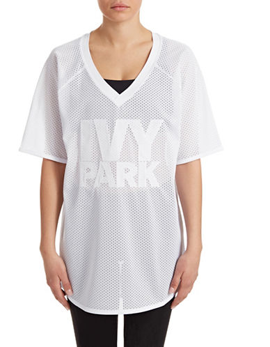 Ivy Park Logo Mesh Longline Jersey-WHITE-Small 88392144_WHITE_Small
