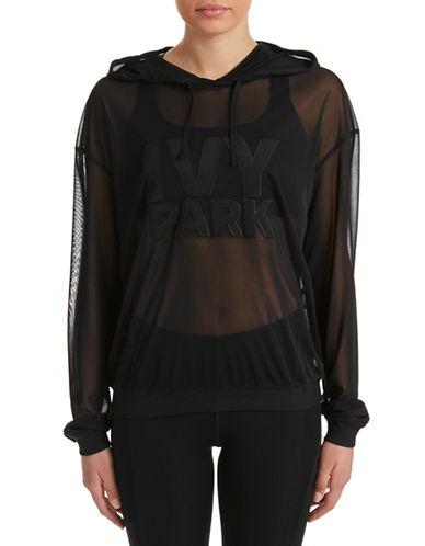 Ivy Park Logo Sheer Mesh Hoodie-BLACK-X-Large 88384667_BLACK_X-Large