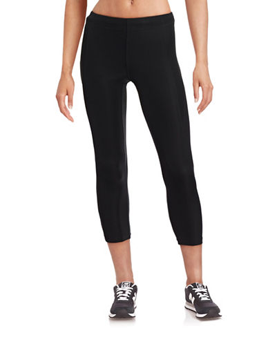 Ivy Park V - Mid-Rise Three-Quarter Leggings-BLACK-Small 88384437_BLACK_Small