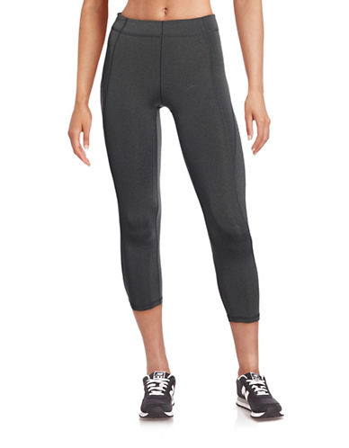Ivy Park V - Mid-Rise Three-Quarter Leggings-GREY-X-Small