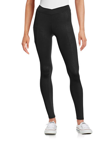 Ivy Park Linear Print V-Waistband Leggings-BLACK-Medium 88384491_BLACK_Medium