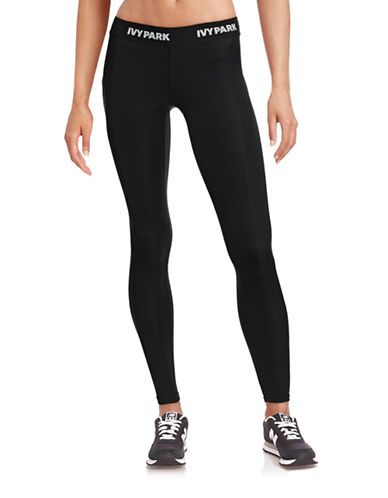 Ivy Park I - Low-Rise Logo Ankle Leggings-BLACK-X-Large 88384454_BLACK_X-Large