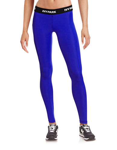 Ivy Park I - Low-Rise Logo Ankle Leggings-BLUE-X-Large 88384459_BLUE_X-Large