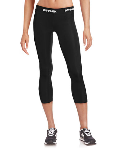 Ivy Park I - Low-Rise Logo Three-Quarter Leggings-BLACK-X-Small 88384468_BLACK_X-Small