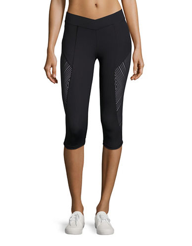 Ivy Park Reflective Linear Print V-Waist Pants-BLACK-Small 88489540_BLACK_Small