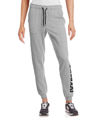 Ivy Park Slim Leg Logo Jogger Pants-GREY-Small