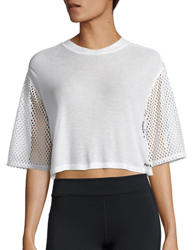 Ivy Park Mesh Panel Crop Tee-WHITE-Medium 88534446_WHITE_Medium