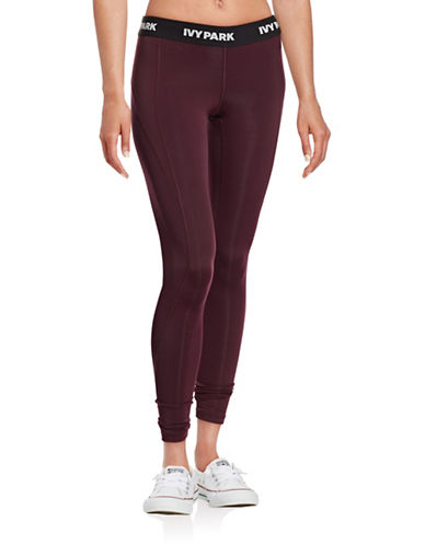 Ivy Park I - Low-Rise Logo Full-Length Leggings-RED-X-Small 88674796_RED_X-Small