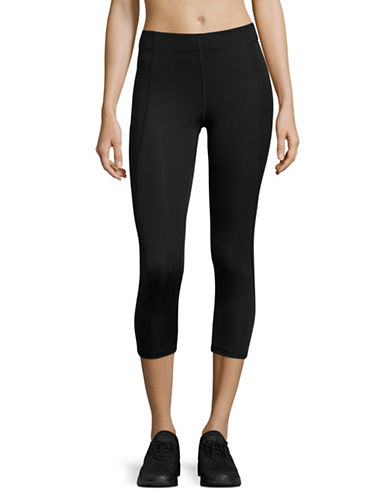 Ivy Park V - Mid-Rise Three-Quarter Leggings-BLACK-Large 88384435_BLACK_Large