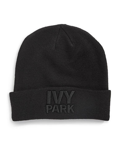 Ivy Park Logo Thermal Beanie-BLACK-One Size