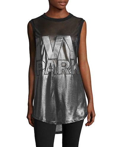 Ivy Park Metallic Mesh Longline Tank-GUN METAL-Small 88755073_GUN METAL_Small