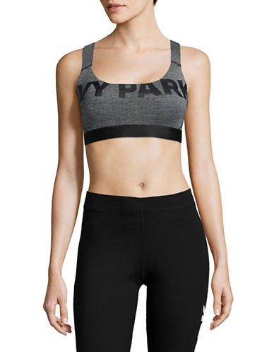 Ivy Park Logo V-Back Mesh Insert Bra-DARK GREY MARL-Large 89166192_DARK GREY MARL_Large