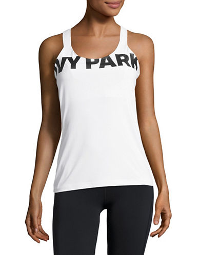 Ivy Park V-Back Mesh Insert Tank Top-WHITE-Medium 89122917_WHITE_Medium