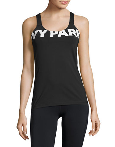 Ivy Park V-Back Mesh Insert Tank Top-BLACK-Medium 88896826_BLACK_Medium