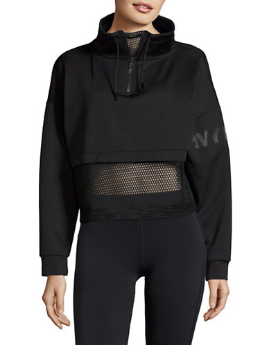 Ivy Park Mesh Panel Funnel Sweater-BLACK-X-Large 88926031_BLACK_X-Large