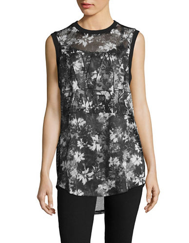 Ivy Park Camouflage Mesh Tank Top-MONOCHROME-Small