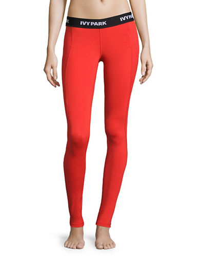 Ivy Park I Low-Rise Logo Leggings-TOMATO RED-Medium