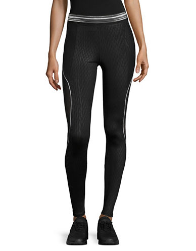 Ivy Park Fishnet Embossed Mesh Stripe Leggings-BLACK-Large 89048418_BLACK_Large