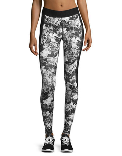 Ivy Park Mesh Panel Floral Mid Rise Ankle Leggings-MONOCHROME-X-Large 89048422_MONOCHROME_X-Large