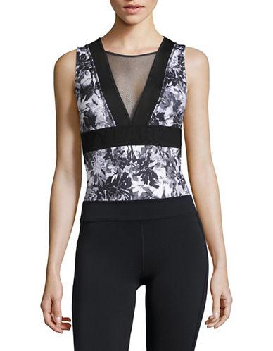 Ivy Park Mesh Panel Floral Bodysuit-MONOCHROME-Small