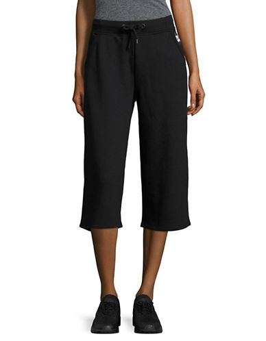 Ivy Park Cropped Wide Drawstring Sweatpants-BLACK-Medium 89122824_BLACK_Medium