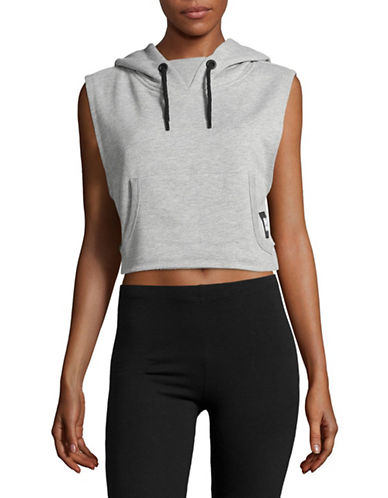Ivy Park Cropped Hoodie-LIGHT GREY MARL-X-Large
