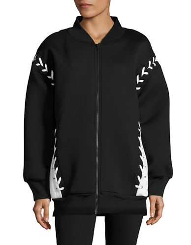Ivy Park Laced Bomber Jacket-BLACK-Large