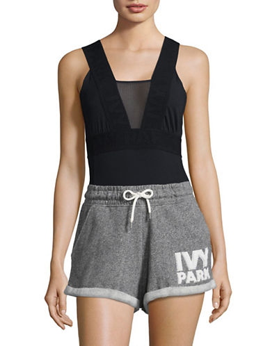 Ivy Park Pintuck Leotard-BLACK-X-Small