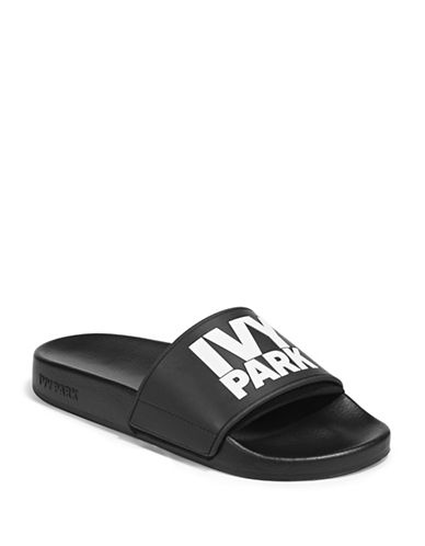 Ivy Park Womens Neo Lined Embossed Logo Slides-BLACK-UK 4/US 6