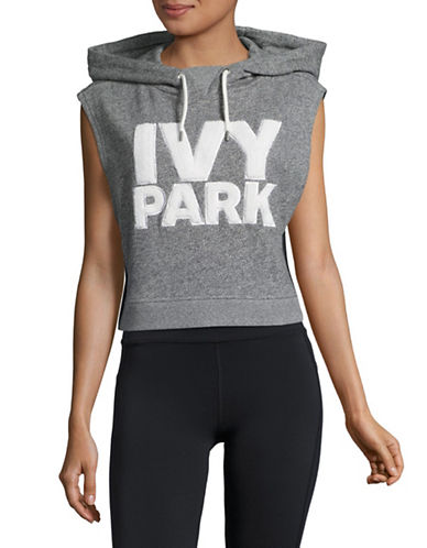 Ivy Park Chenille Crop Hoodie-MID GREY MARL-Small