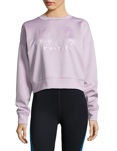 Ivy Park Embossed Cropped Logo Sweatshirt-LILAC-X-Small