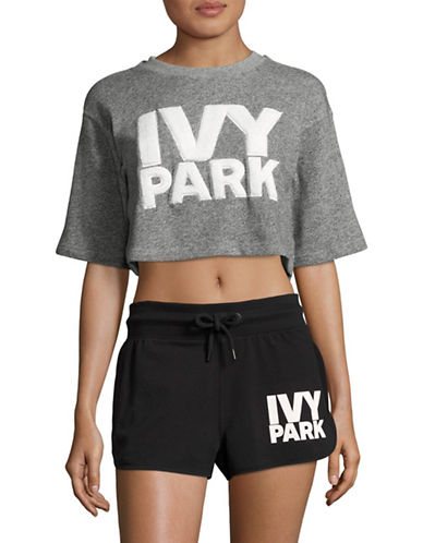 Ivy Park Chenille Logo Crop Top-MID GREY-X-Large
