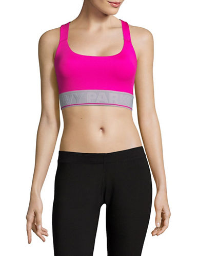 Ivy Park Mesh Back Logo Band Sports Bra-FUSCHIA-Medium