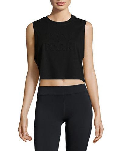 Ivy Park Embossed Logo Cropped Tank-BLACK-X-Large