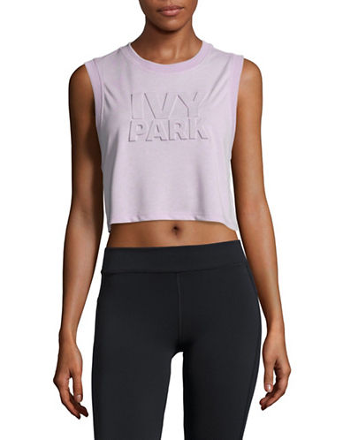 Ivy Park Embossed Logo Cropped Tank-LILAC-X-Small