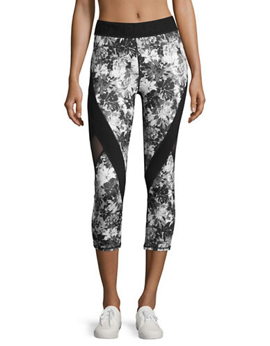 Ivy Park Mesh Panel Floral Low Rise Cropped Leggings-MONOCHROME-X-Large 89048429_MONOCHROME_X-Large