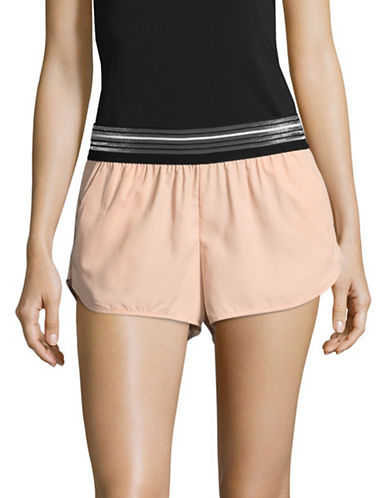 Ivy Park Striped Elastic Waist Shorts-BLUSH-X-Large