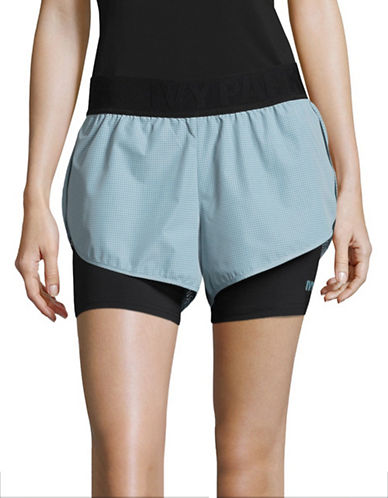 Ivy Park Textured Compression-Lined Shorts-BLUE-Medium