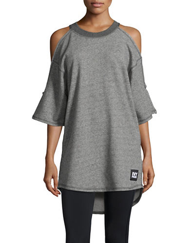 Ivy Park Cold-Shoulder Slub Top-LIGHT GREY-X-Large